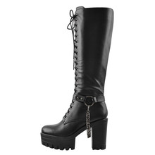 High-Boots Platform Onlymaker Front-Lace-Up Black Big-Size Women's Fashion Zip Classic