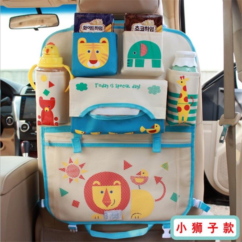 Cute Cartoon Car Seat Back Organizer Milk Bottle Snack Storage Bag iPad Tablet Holder For Kids Seat Back Kick Protector Cover