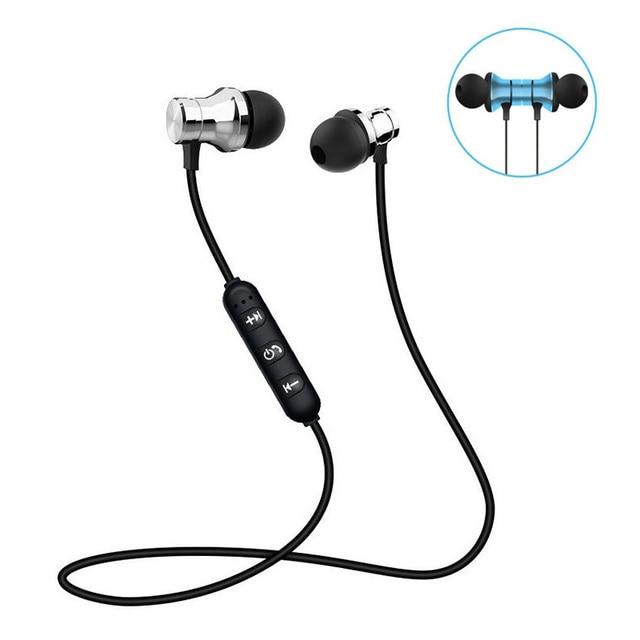Magnetic Bluetooth หูฟังไร้สายบลูทูธพร้อมไมโครโฟนสำหรับ IPhone Android โทรศัพท์สมาร์ททั้งหมด