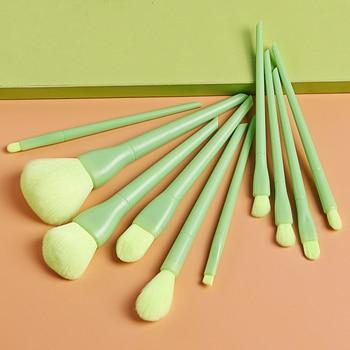 10pcs Candy Color Makeup Brushes Set Powder Foundation Eyeshadow Blushes Blending Brush Beauty Make Up Brush Cosmetic Kits Tool