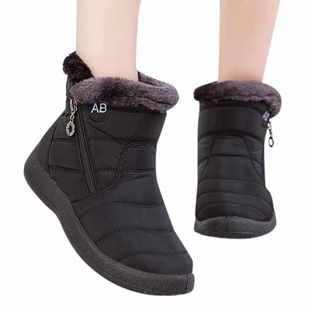 Kadın Peluş Astarı Kar Botları Kış Ayak Bileği Kısa Bootie Su Geçirmez Ayakkabı Tutmak sıcak ayakkabı Kadın Düz Topuk Yuvarlak Kafa Çizmeler