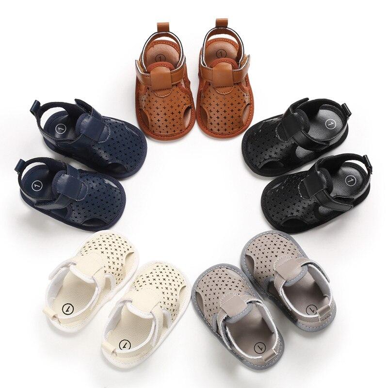 Infant Baby Shoes Boys Girls Toddler Flats Hollow Sandal Soft Rubber Sole Anti-Slip Summer PU Crib Shoes Newborn First Walker