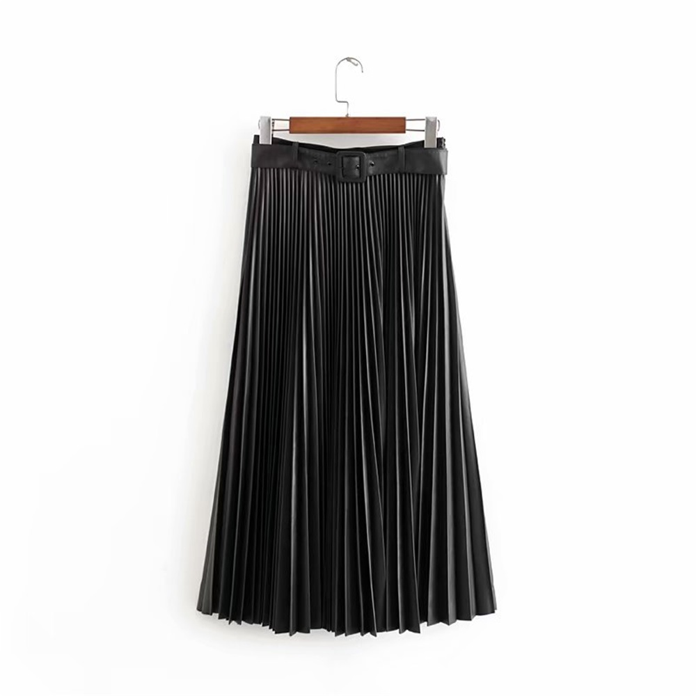 Za women's new autumn 2019 high waist pleated MIDI skirt with detachable belt imitation leather pleated half length skirt image