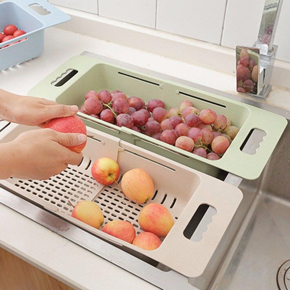 Multifunctional Sink Draining Rack Retractable Storage Box Vegetables Basket Dish Drainer Organizer Holder Kitchen Strainer