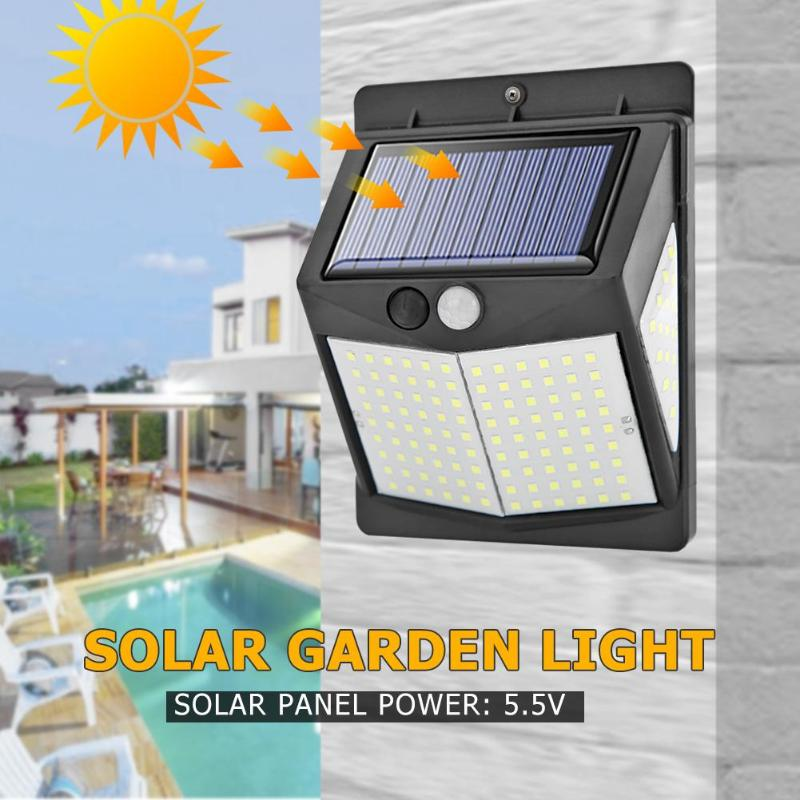 140/208 LED Outdoor Solar Light Three-sided PIR Motion Sensor Wall Lamp Waterproof Energy Saving Yard Garden Security Lamp