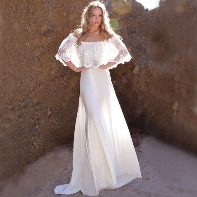 Europe And America New Style Quick-Drying Fabric And Lace Embroidery Edge Wedding Dress Group Bikini Outer Blouse Holiday Beach