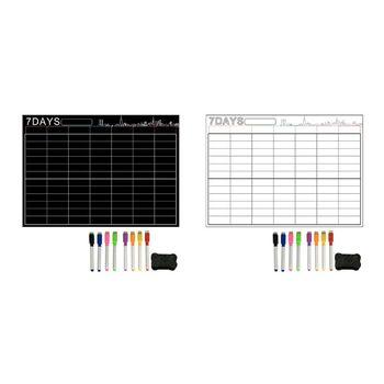 7 dni wymaż suchą dużą biała tablica magnetyczna terminarz tygodniowy i sklep spożywczy lista organizator do kuchni lodówka z 8pc długopisy 1pc B