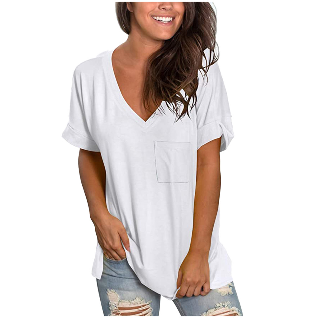Sols Womens Ladies Moon V Neck Short Sleeves T Shirt Cotton Summer Sporty Baggy