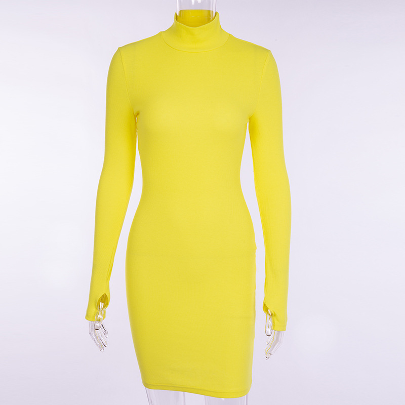 Cryptographic Ribbed turtleneck long sleeve winter dress women 19 fashion vestidos trend color slim sexy bodycon dresses 11