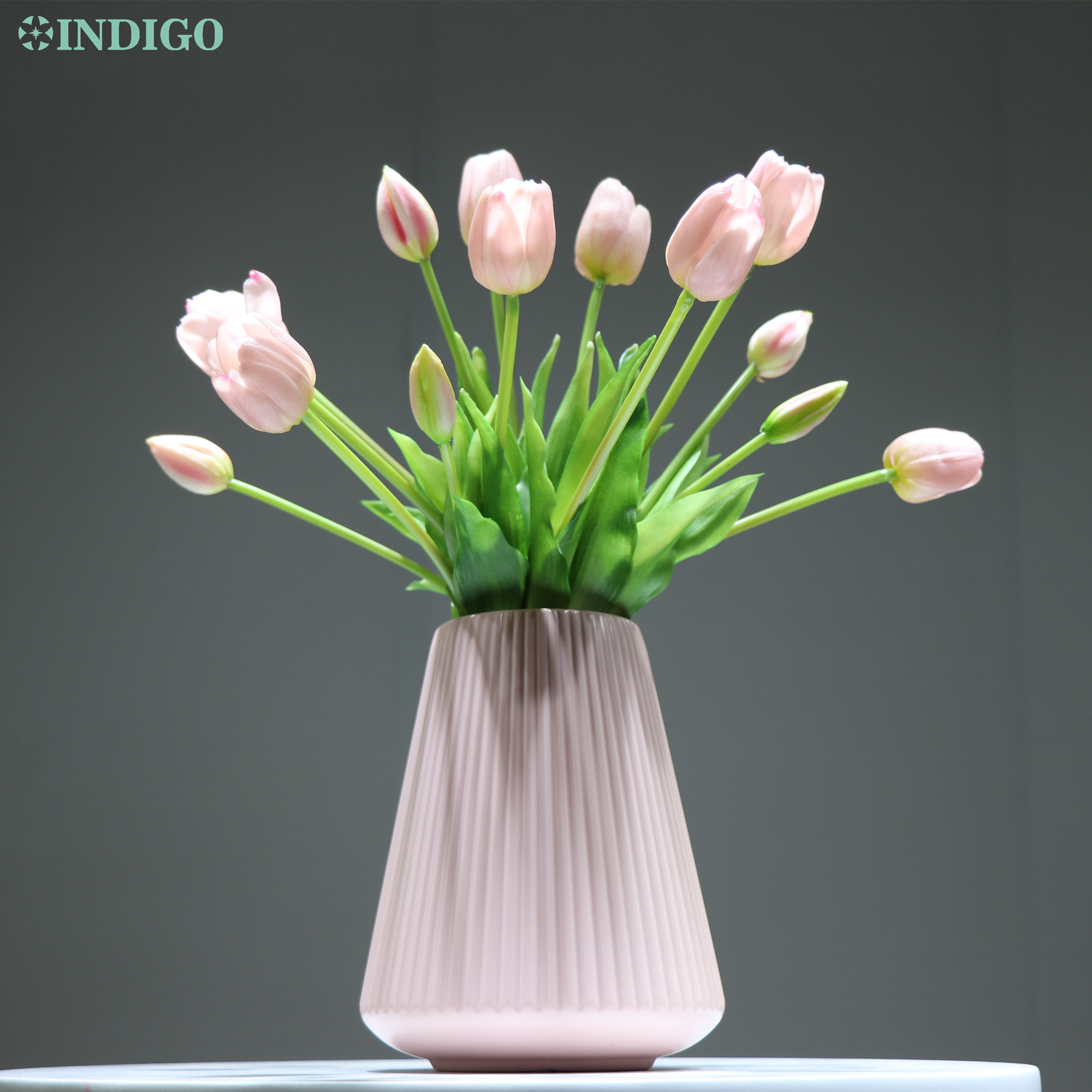 INDIGO-(3 flowers+2 bud)Bouquet Real Touch Silicone Tulip High Quality Yellow Tulip Home Artificial Flower Wedding DropShipping-4