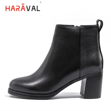 HARAVAL Fashion Luxury Women Ankle Boot Winter Genuine Leather Round Toe High Heel Shoes Classic Black Zipper Chelsea Boots B224