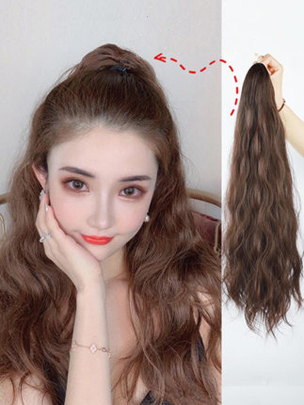 100% Human Hair Ponytail Remy Ponytail Wrap Around Horsetail wig Hairpieces Natural Curly Tails