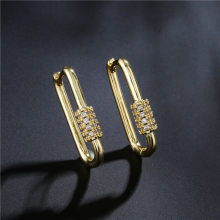 1 Pair Fashion Cubic Zircon Geometric Earrings Gold Color Cute Drop Earring For Women Girl Luxury Wedding Jewelry For Lover
