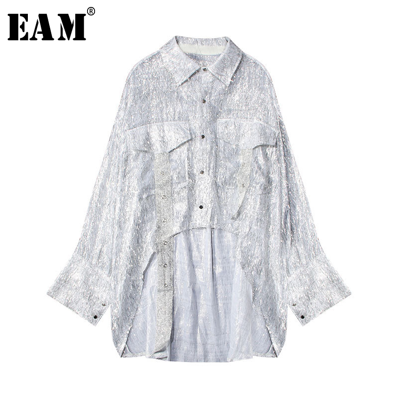 [EAM] Women Irregular Split Joint Big Size Blouse New Lapel Long Sleeve Loose Fit Shirt Fashion Tide Spring Summer 2020 1U560