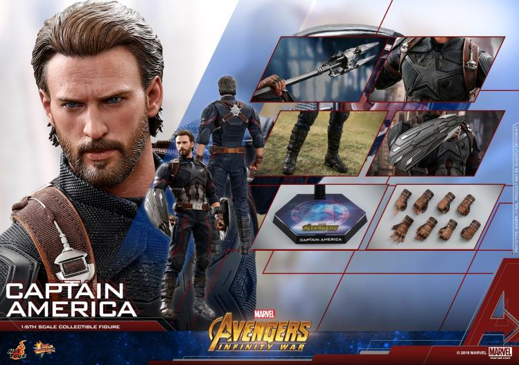 "Hot Toys MMS480 1//6 Avengers Infinity War Captain America 12/"" Figure Head Sculpt"