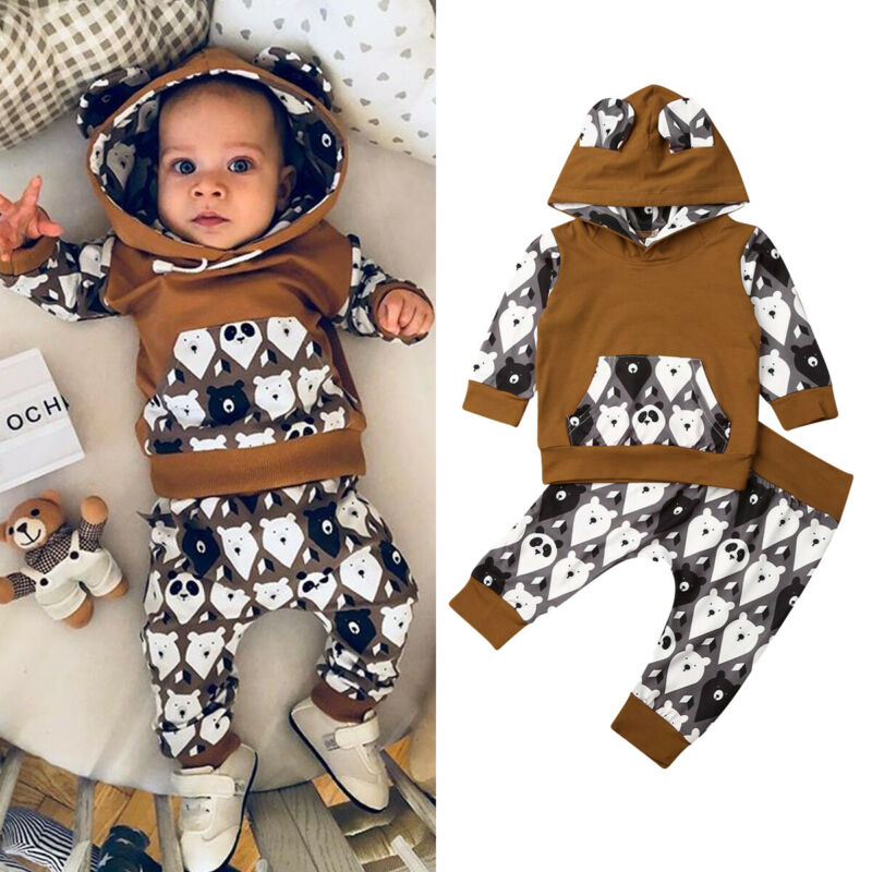 2PCS Newborn Baby Girl Boy 0 24M Tracksuit Clothes Hooded Top + Long Pants Outfits