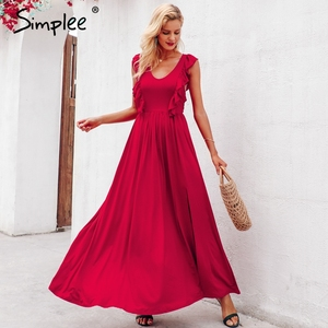 Image 4 - Simplee סקסי קפלים אדום ארוך נשים שמלת ראפלס O צוואר פיצול מקסי קיץ שמלת 2019 אלגנטי נשי מועדון vestidos דה פיאסטה
