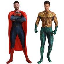 Deluxe Superman Aquaman Cosplay kostüm yetişkin erkekler Justice League süper kahraman tulum cadılar bayramı kostüm erkekler yetişkin