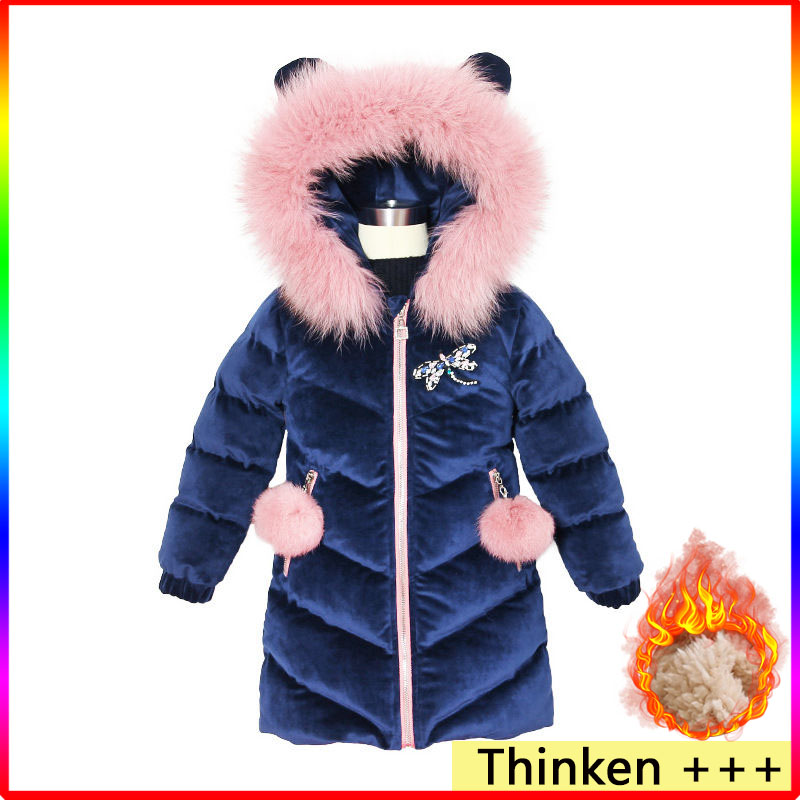 2020 New Children's Down Winter Jacket For Girls Thicken Girls Winter Coat Hooded Velour Winter Girls Jackets Outwear 3-12T