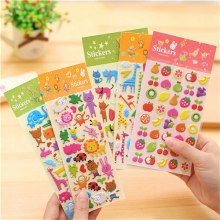 1 лист, милый фруктовый Кот, торт, жираф; зоопарк, морские наклейки, скрапбук, наклейки на холодильник, 3D объемные Пузырьковые наклейки для детей