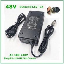 48V Li ion ładowarka wyjście 54.6V 3A dla 48V rower elektryczny akumulator litowy 3 pinowe złącze żeńskie GX16 XLR 3 gniazdo