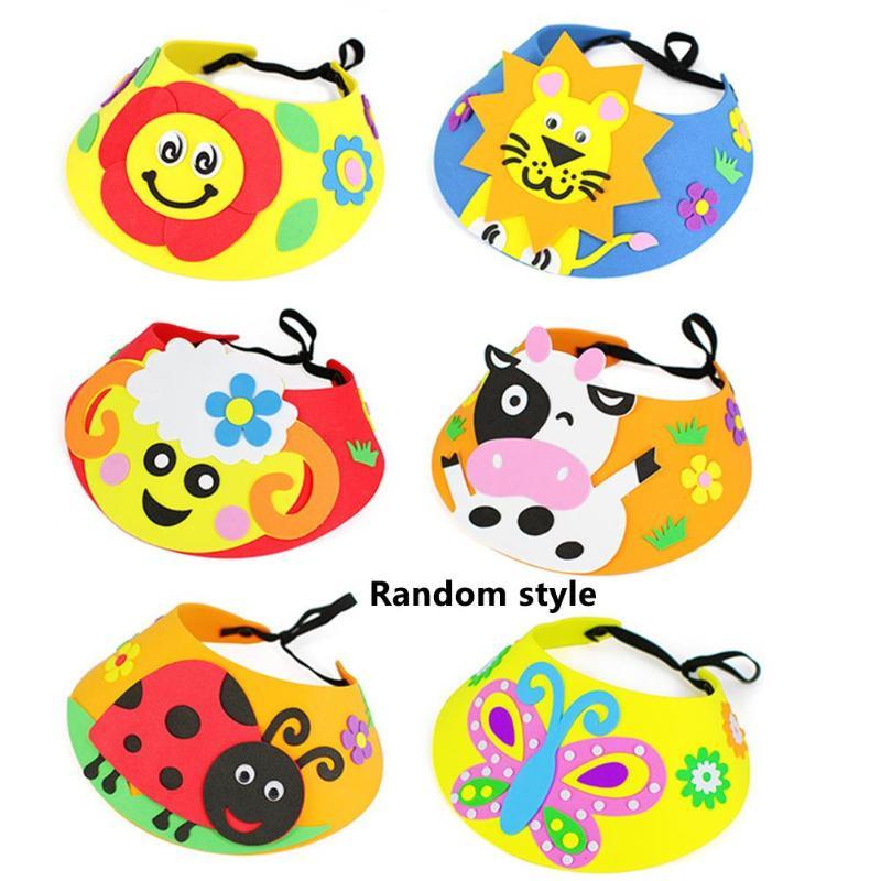 3D EVA Handmade Hat Personality Especially Creative Craft DIY Cartoon Caps Child Birthday Gifts Puzzle Toy Random