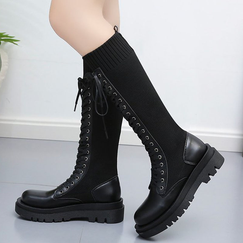 Lace Up Knitted Leather Boots  2
