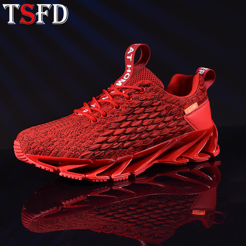 Blade Men's Sports Shoes Air Mesh Sneakers For Men Lace Up Running Shoe Men Plus Size Sports Shoes Men Red Jogging Footwear V10