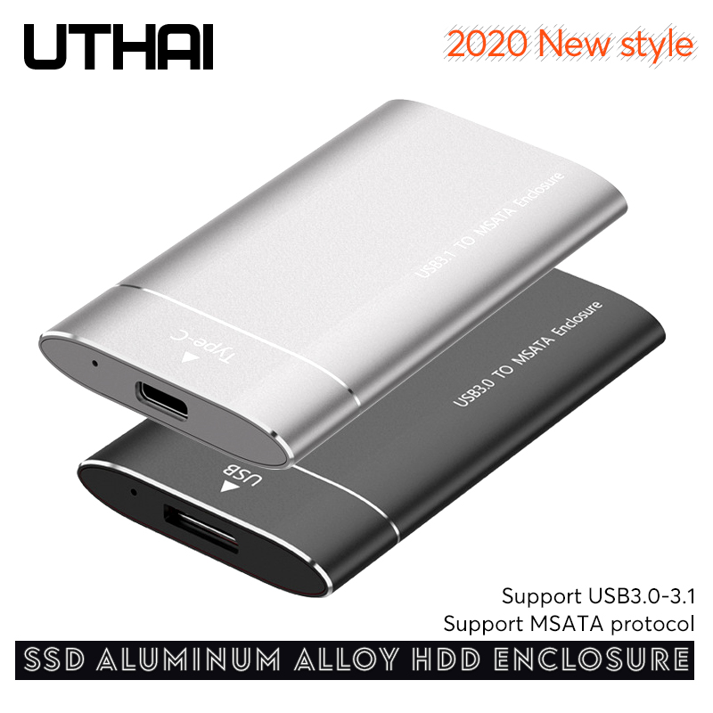 UTHAI T37 MSATA To USB3.0 Aluminum Alloy HDD Enclosure Msata SSD To USB3.1 Type-C HDD Case For 2.5 Inch SSD Sata3 HDD Box