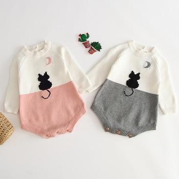 Mameluco de punto para bebé de otoño, suéter de manga larga para niña, mono de punto para niña, ropa de princesa de algodón, mameluco para niña