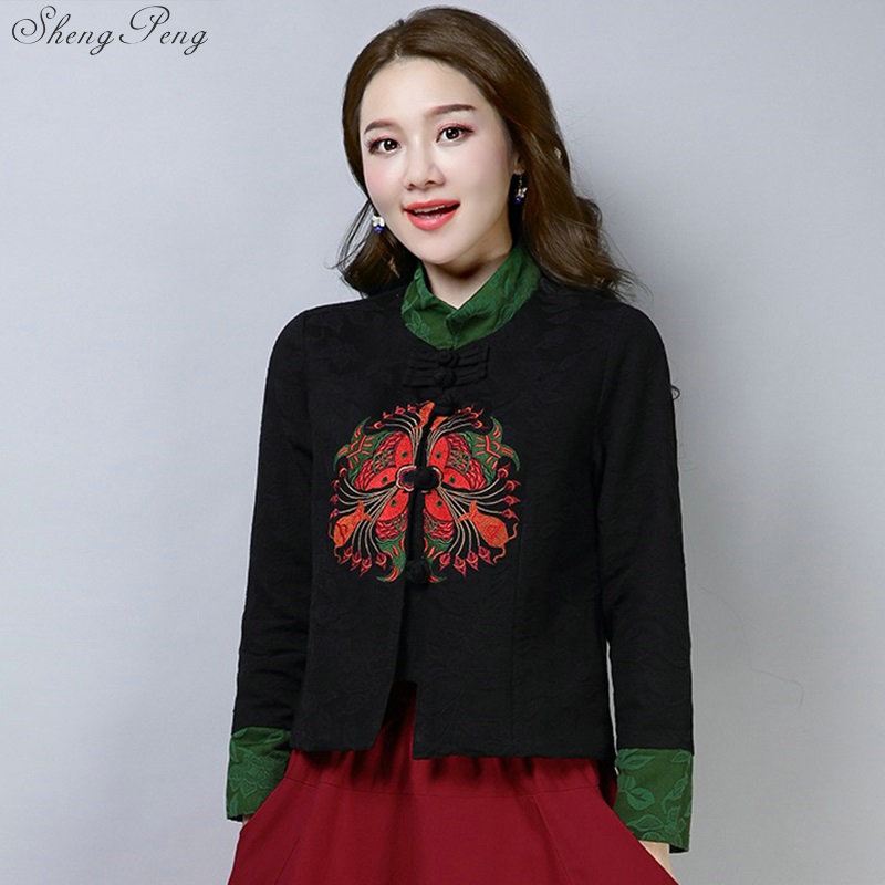 Traditional Chinese Clothing For Women China Shirt Chinese Style Tops Jacket Cotton Printing Vertical Cheongsam Tops V1734