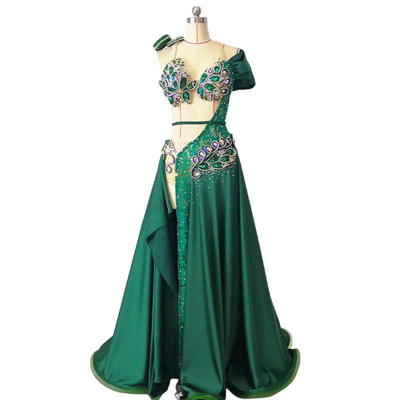 Women Customized Belly Dance Costume Set Big Swing Split Skirt Dancer Competition Suit Oriental Dance Stage Performance Outfit