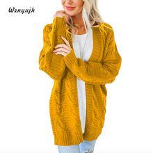 WENYUJH Women Knit Cardigan Sweater Long Sleeve Open Front 2019 Chunky Coat Pointelle Knitted Top Winter Women Knitwear Femme