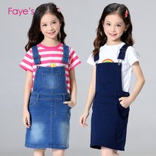 Baby Girls Dresses 4T-12T Overalls Denim Pinafore Dungarees Kids Jumpsuits Children Clothes Clothing