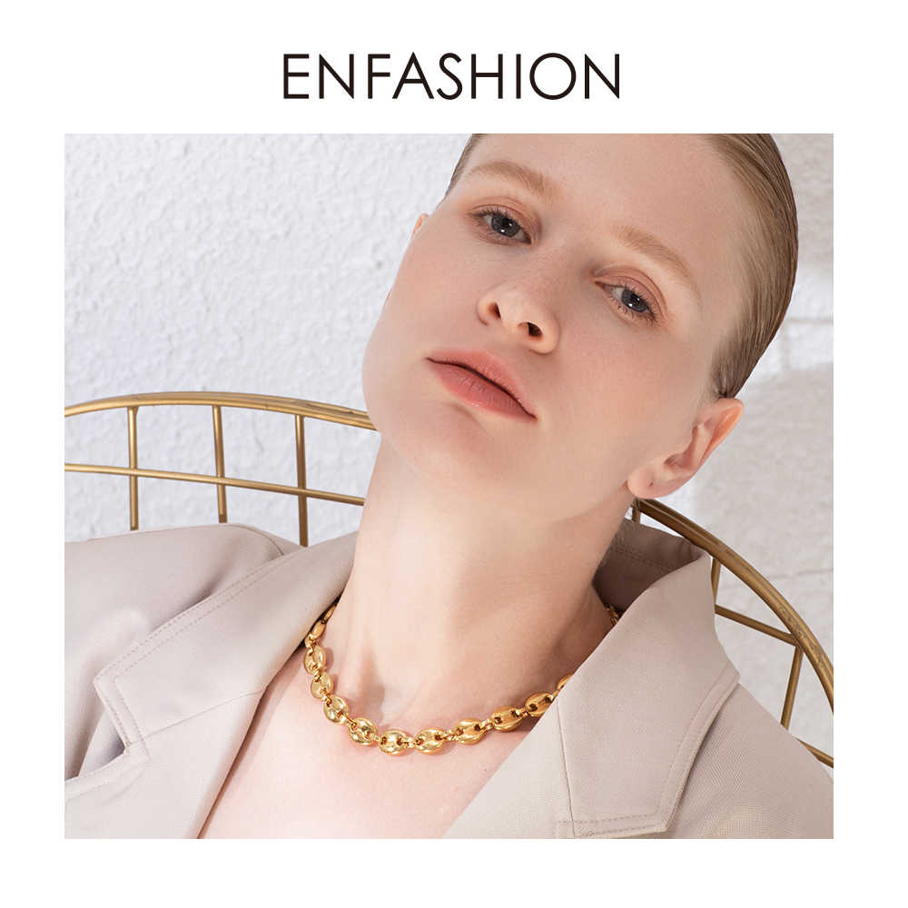 ENFASHION Punk Coffee Beans Link Chain Choker Necklace Women Stainless Steel Gold Color Hip Hop Rock Necklaces Men Jewelry P3022