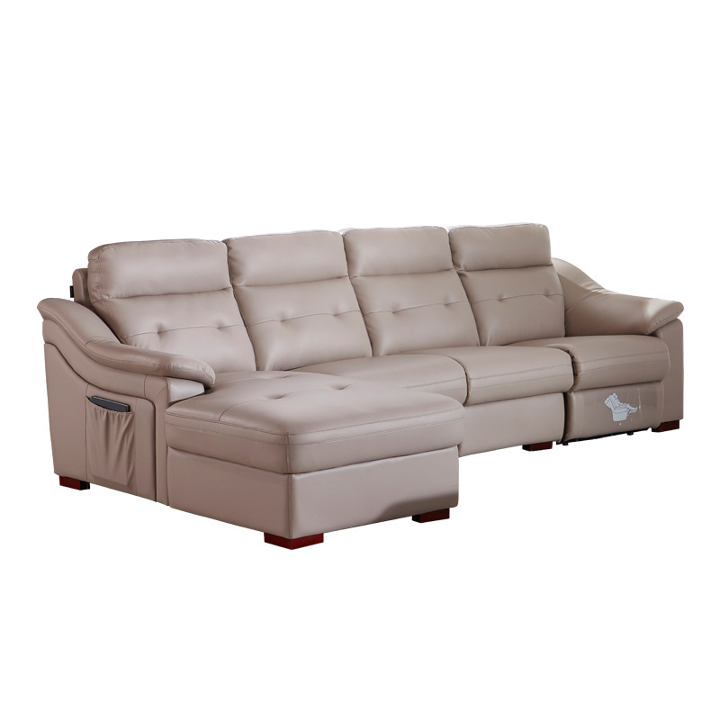 Functional First-class Space Electric Cabin Leather Sofa Top Layer Leather Living Room Combination Electric Chaise Sofa