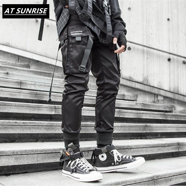 2020 New Ribbons Cargo Pants Men Black Pocket Streetwear Harajuku Techwear Pants Hip Hop Trousers Harem Joggers Sweatpants Black