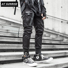 2020 new Ribbons Cargo Pants Men Black Pocket Streetwear Har