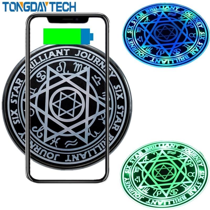 Tongdaytech 10 w qi carregador sem fio para o iphone x 8 de alumínio rápida almofada carregamento sem fio para samsung s10 s9 s8 carregador sem fio