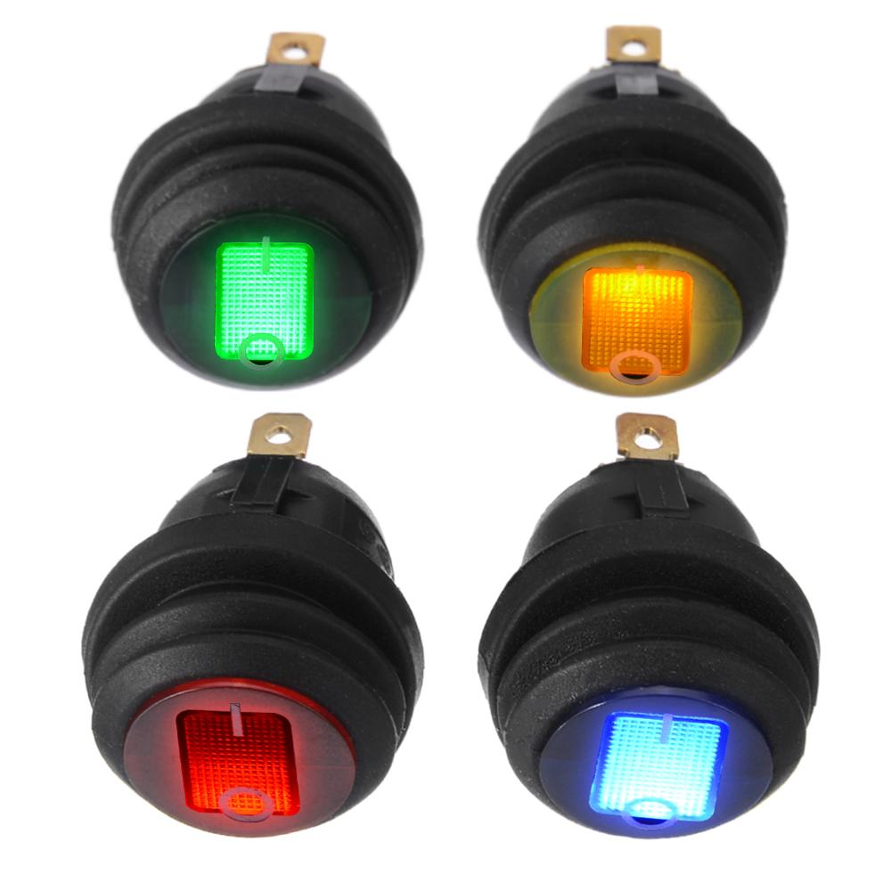 Automobile Round Boat LED Rocker Indicator Switch 3-Pin On-Off Thumb Switch 12V DC Blue Light 4pcs
