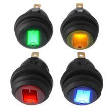 MAYITR 4Pcs Waterproof 12V 12A On/Off 3 Pin SPST Dot Switch Car Boat LED Round Rocker Switch Red/Blue/Orange/Green