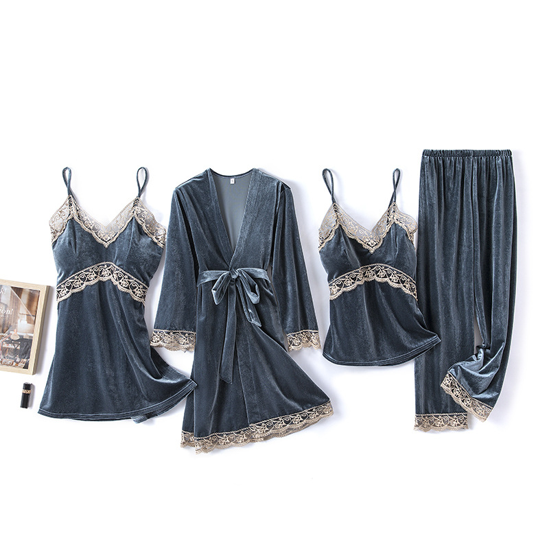 2020 Gold Velvet 4 Pieces and 5 Pieces Warm Winter Pajamas Sets Women Sexy Lace Robe Pajamas Sleepwear Kit Sleeveless Nightwear 12