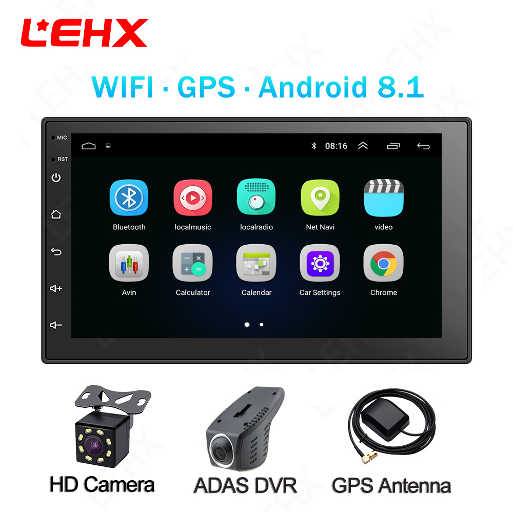 LEHX Double Din Universal 7 Inch Android 8.1 Car Radio GPS Multimedia Unit Player For