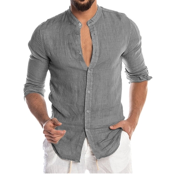 Men's New Summer Casual Cotton Linen Long Sleeve Button Down Shirt For Man Casual Shirts Cotton Shirts Dress Shirts Long Sleeve Men Print Shirts Shirts & Tops Slim Fit Summer Shirts T-Shirts Color: Gray Size: European Size XL