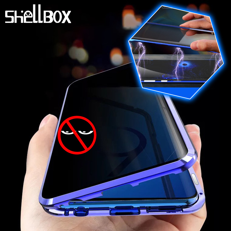 Magnetic Privacy Tempered Glass Magnet Metal Phone Case Coque 360 Full Body Protective Cover For Samsung