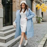 Simplee-parkas largas informales con capucha para mujer, chaqueta femenina de manga larga, color azul claro, para otoño e invierno, 2020