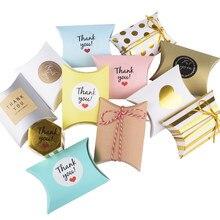 10/20/30pc caja de dulces de caramelo bolsa de papel artesanal forma de almohada Cajas de Regalo de recuerdo para boda pastel fiesta bolsas de Kraft de embalaje de promoción