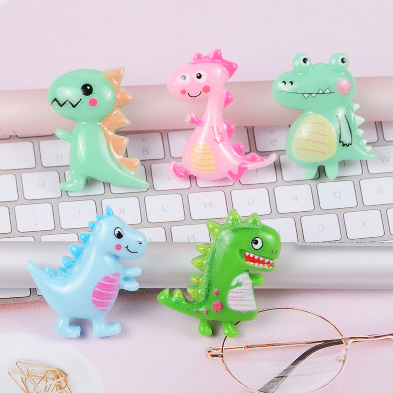 20pcs/lot Very Cute Resin Dinosaur Flat Back Cabochon For Hair Bow Center Scrapbooking DIY Phone Decoration Accessories Craft