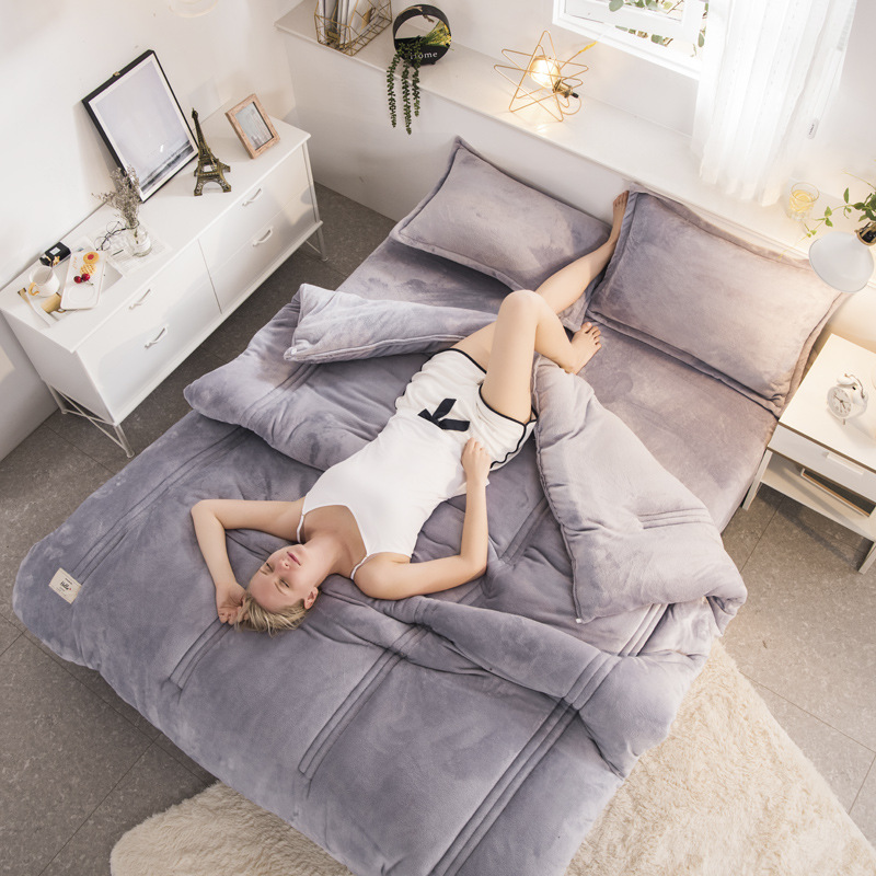 Winter Super Soft Flannel Duvet Double-sided Cashmere Blanket Pure Color Comforter Thicken Warm Quilt Solid Bedspread