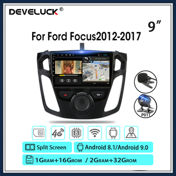 Android 9.0 Car Radio 4G+WIFI Multimedia Player For Ford Focus 2012-2017 GPS Navigaion DSP RDS Split Screen With Frame 2G+32G image
